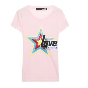 LOVE MOSCHINO Sequin Graphic Tee - Love - Sz 6 NWT
